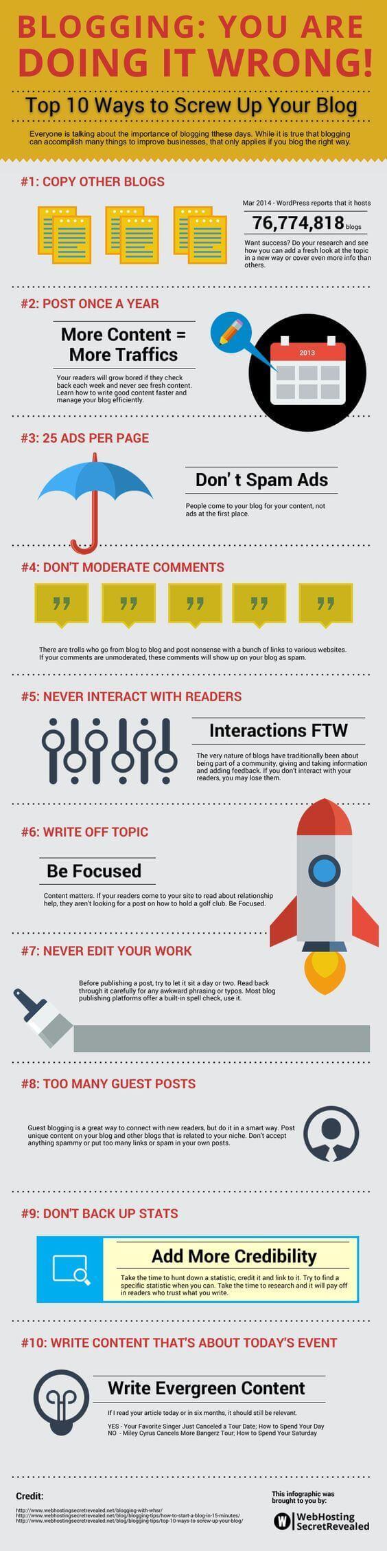 10 malas prácticas que arruinan un blog #infografía