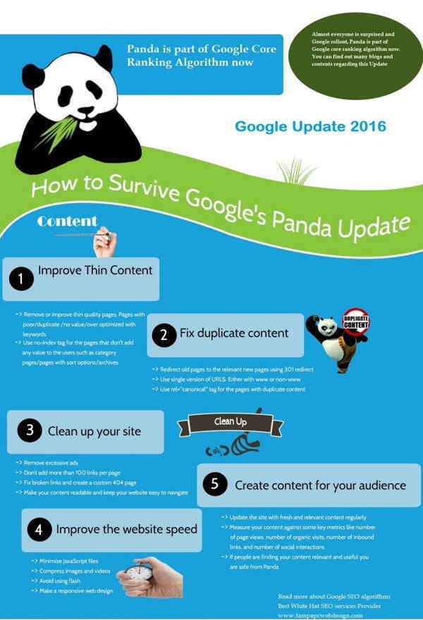 los pasos para crear contenido de calidad que se adapte a Panda infografia