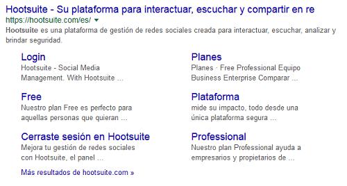 sitelinks en Google