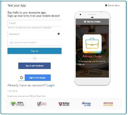 Crear app con Appypie paso 3