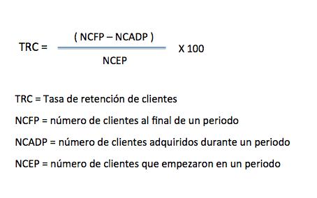 formula para calcular tasa de retención de clientes