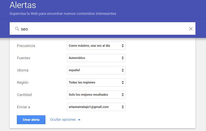 configuracion google alerts