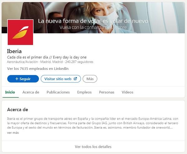 ejemplo pagina de empresa linkedin